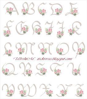 alphabet - rose - point de croix - cross stitch - Blog : http://broderiemimie44.canalblog.com/