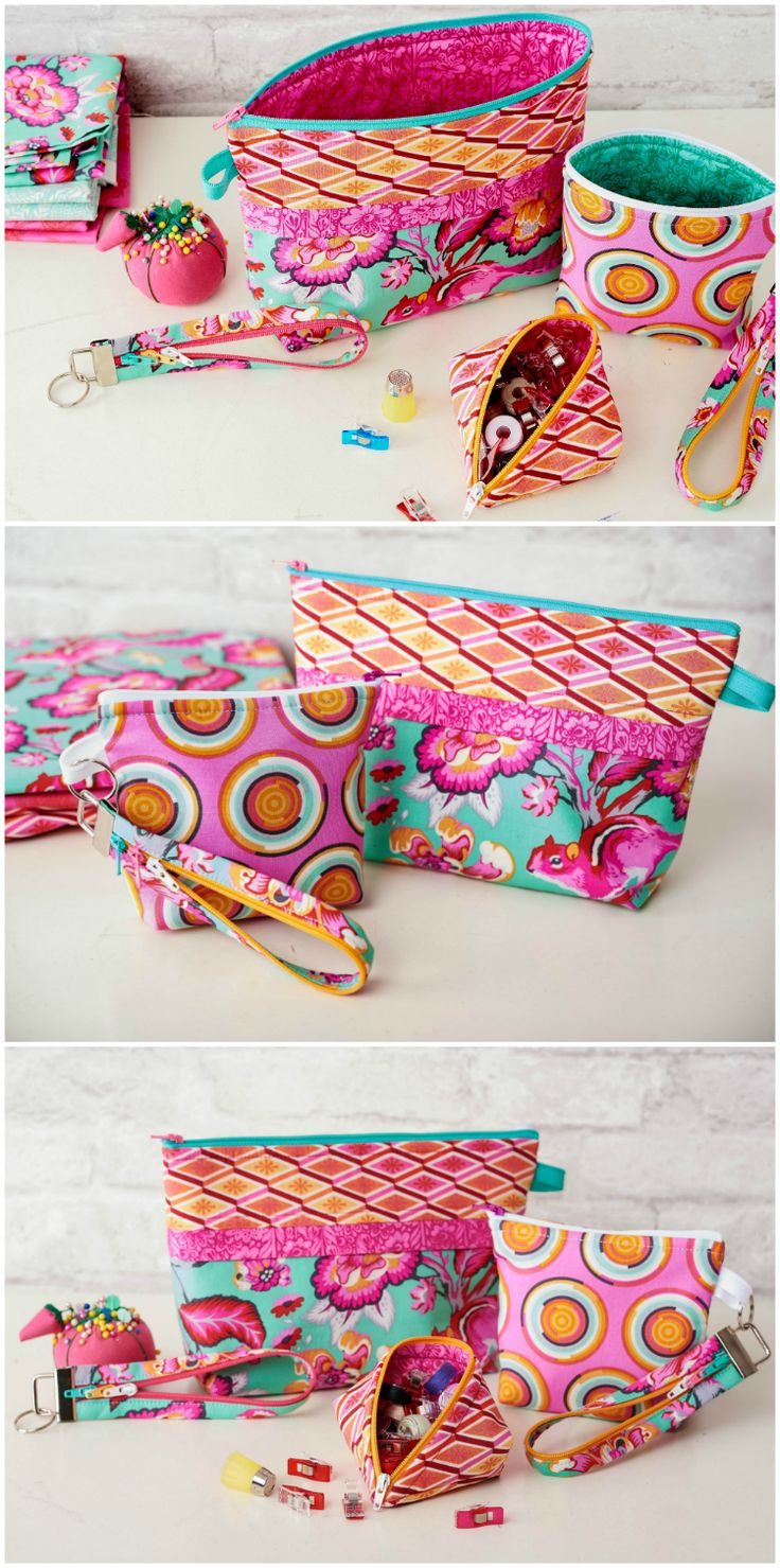 3 fun and easy projects with zippers that you will love!  If you're afraid of zippers, you'll soon start to love them when you see how easy they can be to use and how versatile!  Full video lesson for 3 different zipper projects to sew.  Patterns included.