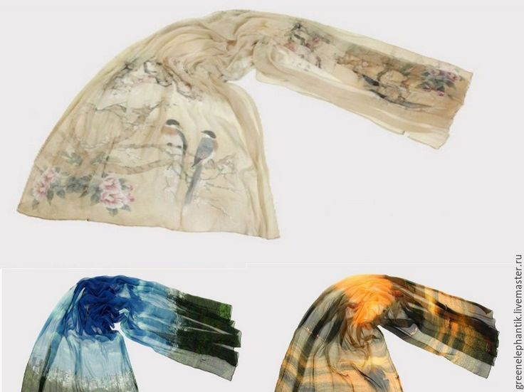 Купить Палантин шелк натуральный (в Россию бесплатная доставка) - палантин шелковый, палантин с принтом