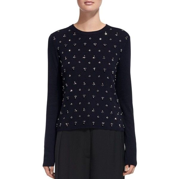 Whistles Embellished Cropped Sweater ($230) ❤ liked on Polyvore featuring tops, sweaters, navy, whistles tops, blue crop top, navy crop top, navy blue crop top and navy blue cropped sweater