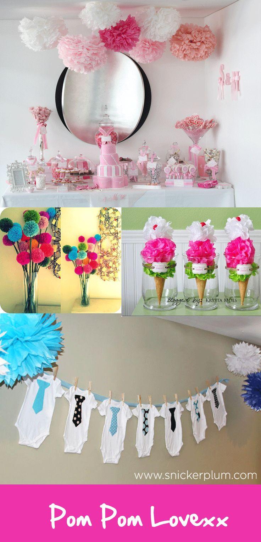 Baby shower wedding buy tissue paper poms tissue paper pom pom kit - Diy Tissue Paper Pom Poms Tittle Tat