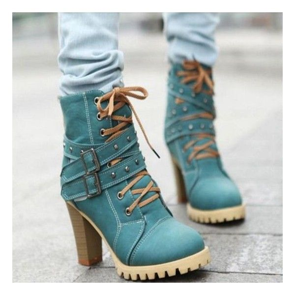 Top Lace Up High Heal Ankle Boots Trends 2016-2017 | Quoteslodge Is... ❤ liked on Polyvore featuring shoes, boots, ankle booties, laced up boots, ankle bootie boots, laced up booties, lace-up booties and short lace up boots