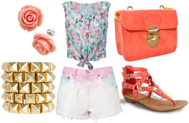 Dye shorts for night w/ floral crop tank coral sandals, coral cross body bag, gold spike bangles and rose earrings.