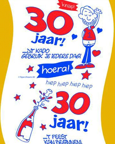 Toiletpapier 30 jaar man. Toiletrol voor een 30 jarige verjaardag met leuke, grappige teksten voor mannen.