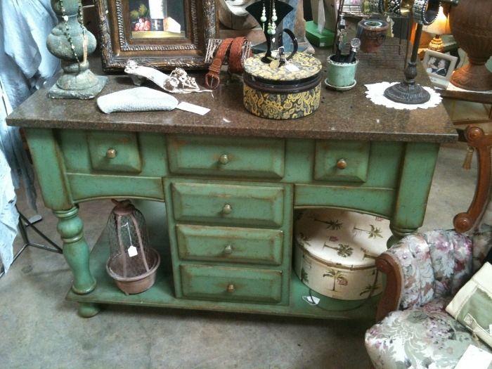 green kitchen island  kitchen  Pinterest