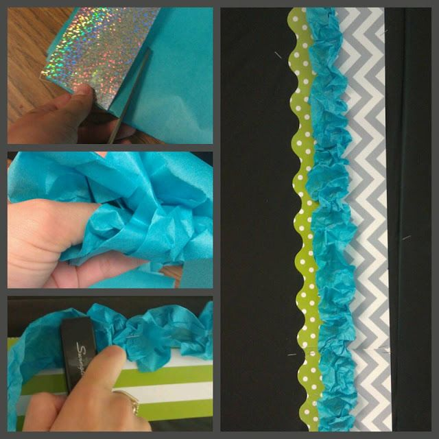 Very cool ruffled bulletin board techniquie! Your Life: Embellished: DIY Bulletin Board Ribbon Border