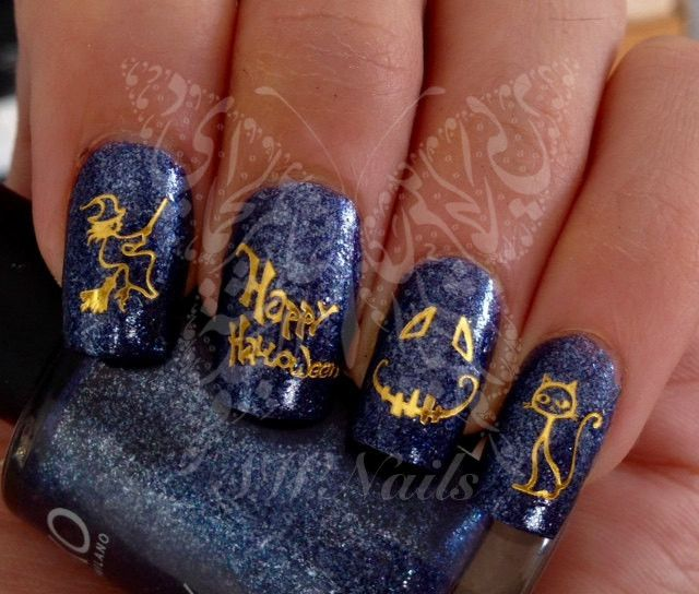 Gold Halloween Nail Art Scary Face Witch Water Decals Wraps