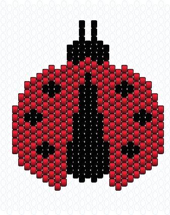 perles, miyuki, coccinelle, peyotte, tuto, commencer par le milieu (bande entre les deux antennes) en bas