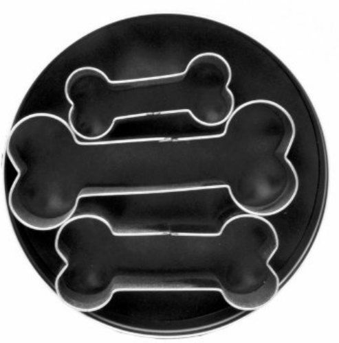 3 Piece Dog Bone Cookie Cutter Set in Tin by TheCookieCutterShop