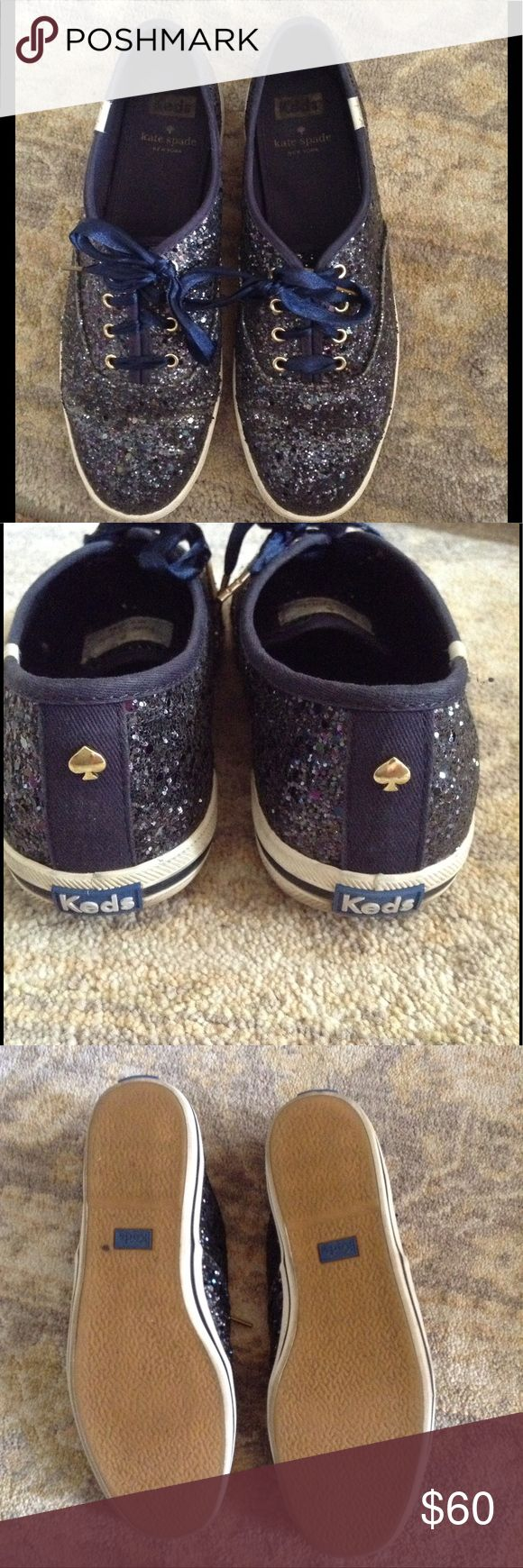 Kate spade navy blue glitter Keds tennis shoes Size 8 blue glitter sneakers with ribbon laces. Originally $80. Signs of wear: glitter has fallen off on some areas where the shoe naturally rubs and bends. (See last pic) kate spade Shoes Sneakers