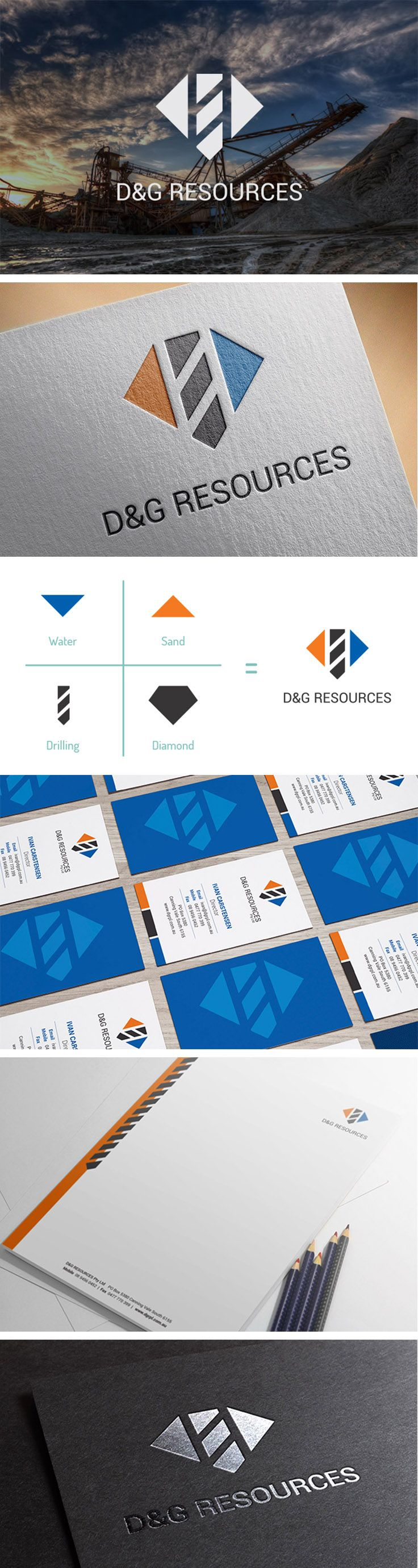 Logo Design, Identité Visuelle, Forage & Étanchéité |  industrie minière, métallurgique,  sable, eau, minéraux, geometrique, graphisme, inspiration | Drilling & Grouting Resources, Perth WA  |  Celine Le Duigou, Freelance.