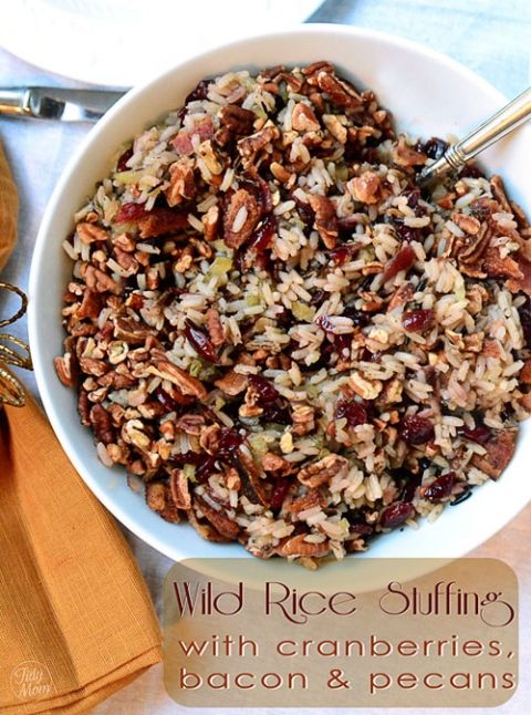 wild rice stuffing with cranberries, bacon and pecans (Sub green onions tops as garnish)