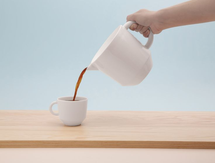 """CZAJ /  cooperation Grynasz Studio & ZPS """"KAROLINA"""" / 2016 / A family of tea- and coffee-makers, cups and bowls. The design and shaping of individual items enables them to be stacked on top of one another, and hence stored conveniently. The edge of the jug is shaped to form a 'funnel', so that the jug can be easily filled with water. The lip of the jug is specially profiled to ensure that liquids are poured easily and securely, with no spills or unnecessary drops."""