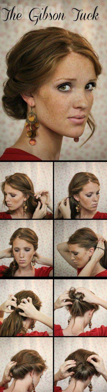 The Gibson Tuck | 10 Beautiful & Effortless Updo Hairstyle Tutorials for Medium Hair | Gorgeous DIY Hairstyles by Makeup Tutorials at http://makeuptutorials.com/10-beautiful-effortless-updo-hairstyle-tutorials-medium-hair/