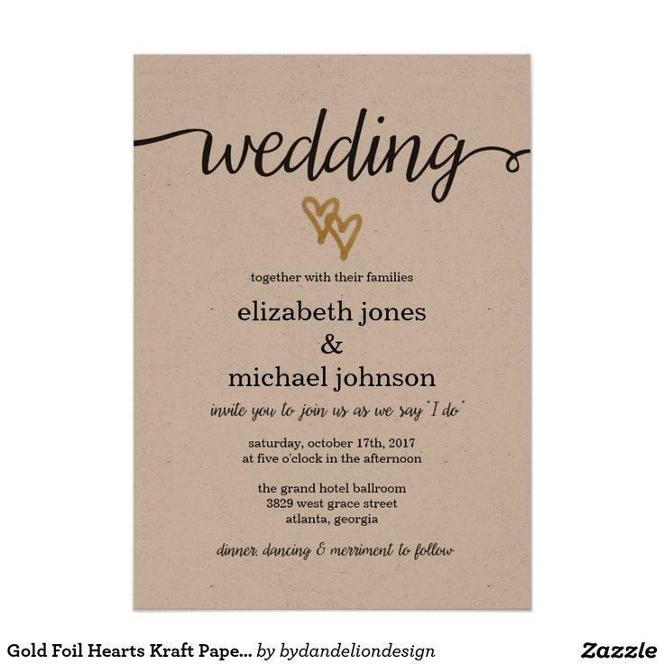 Gold Foil Hearts Kraft Paper Wedding Invitation