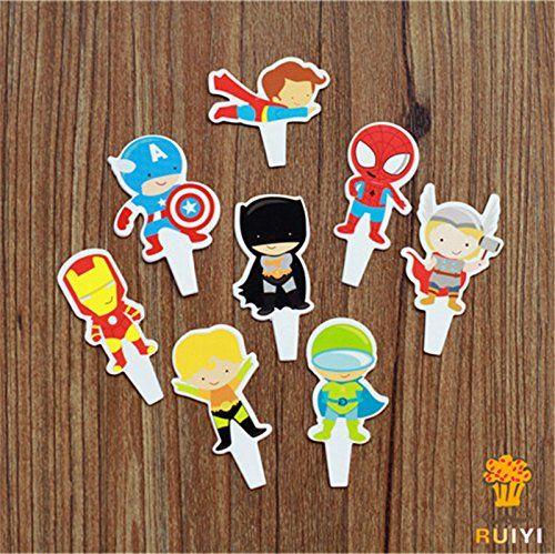 96pcs the Avengers Superman Batman Iron Man Cartoon Cake Toppers Cupcake Picks Cases Kids Birthday  @ niftywarehouse.com #NiftyWarehouse #Geek #Gifts #Collectibles #Entertainment #Merch