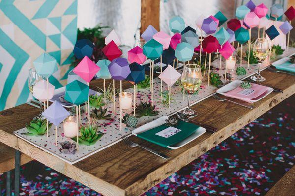teal peach geometric wedding