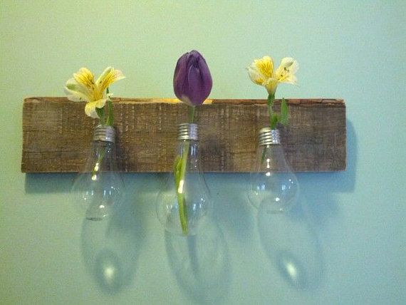 "Mother's Day or Easter? 3 Light Bulb Vases on Decorative Pallet Wood    from the book ""Disappointing Your Mom"".."