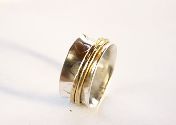 sterling silver  heart spinner ring,spinner ring, worry ring ,fidget ring, silver rolling ring, wide band ring ,spinning ring