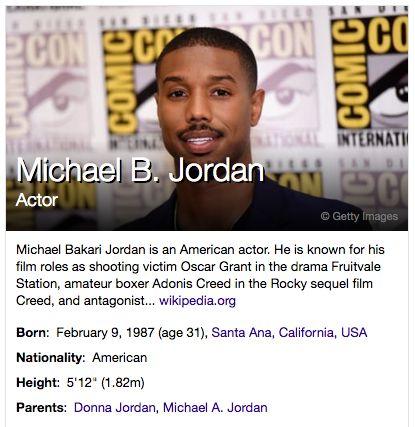 Yahoo lists Michael B. Jordan's height as 5'12''