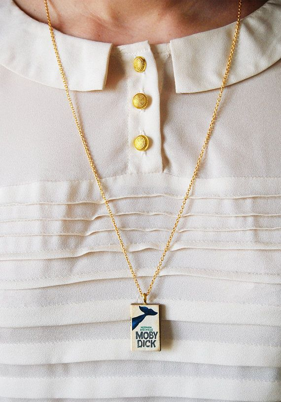 Moby Dick mini book necklace by Bunnyhell on Etsy, €18.00