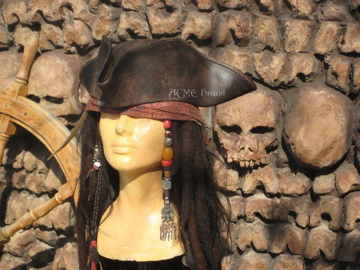 Jack sparrow Leather Tricorn Tricorner Pirate hat Milliner made by AcmeBrandReplicas on Etsy https://www.etsy.com/au/listing/193907329/jack-sparrow-leather-tricorn-tricorner