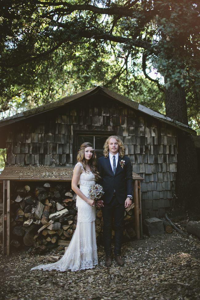 Blake & Megan | vintage wedding dress | San Diego woodland wedding ...