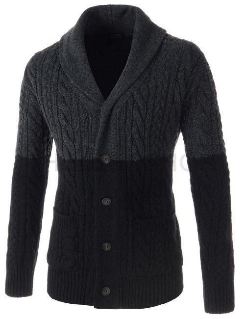 (SGC27-CHARCOALBLACK) Mens Slim Shawl Collar Two Tone Twisted Knitted Long Sleeve Cardigan