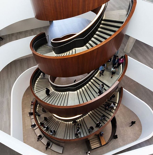 carr design group has designed the university of sydney business school in new south wales with this monumental spiral staircase…