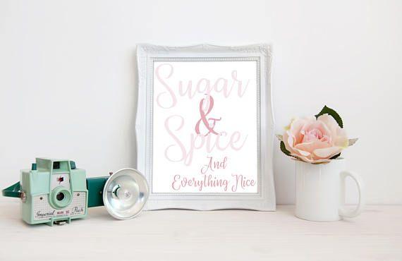 Nursery Printable  Sugar & Spice Print  Girls Nursery Wall