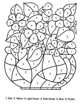 Bouquet de fleurs avec des nombres coloriages - Coloriage magique nombres ...