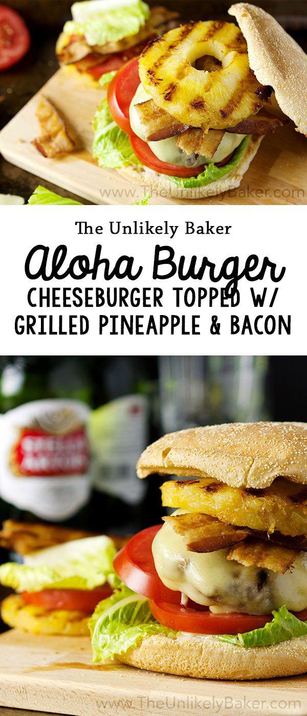 Aloha burger recipe - juicy cheeseburger, grilled pineapple, crispy bacon, honey mustard sauce. Make your tastebuds sing!