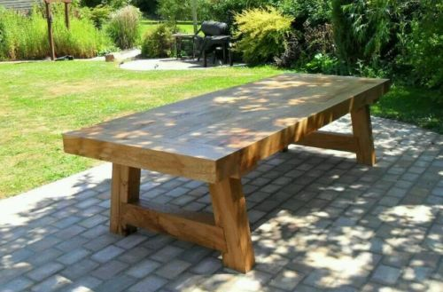 XL OAK BEAM SLEEPER GARDEN OR DINING TABLE 10ft LONG MADE