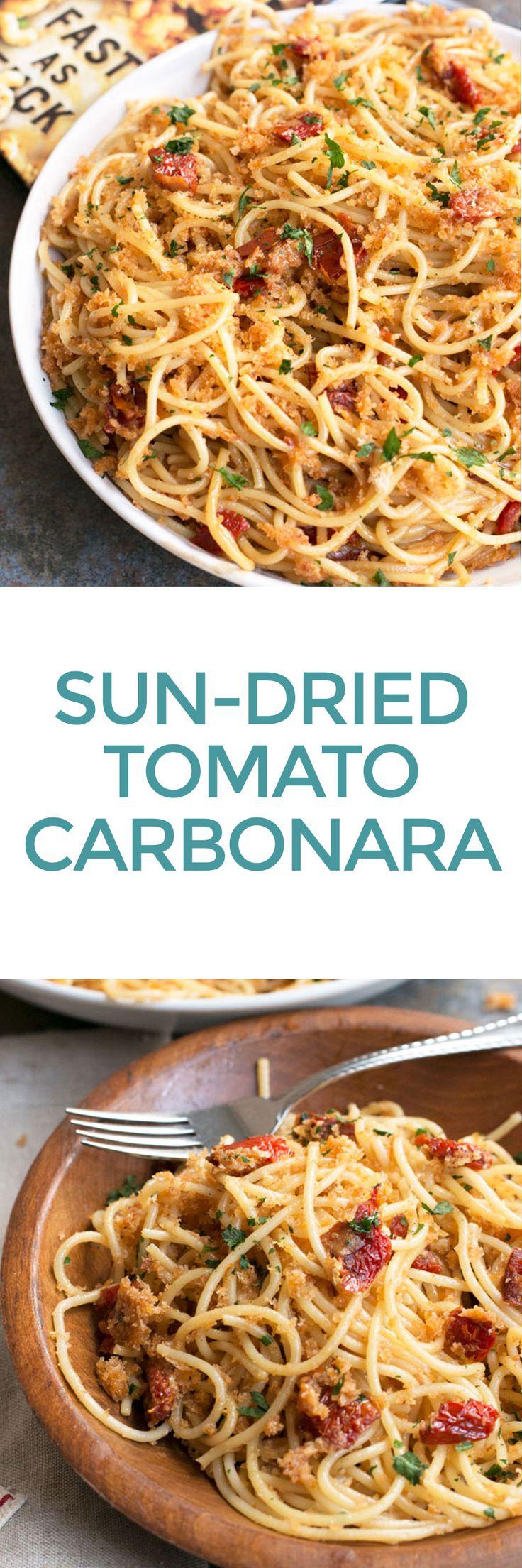 Thug Kitchen 101's Sun-Dried Tomato Carbonara   cakenknife.com