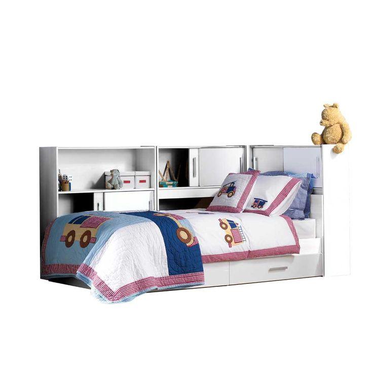Kinderzimmer Bett Stauraum Weiß Prattl. Regal
