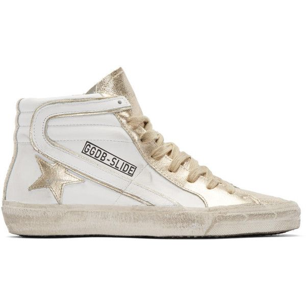 Golden Goose White and Gold Slide High-Top Sneakers (1,800 AED) ❤ liked on Polyvore featuring shoes, sneakers, white shoes, gold high tops, metallic sneakers, zipper sneakers and gold sneakers