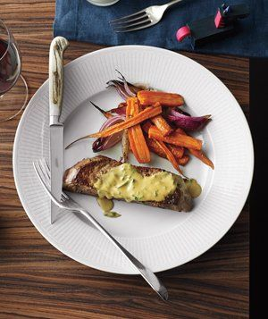 Steak With Roasted Carrots and Onions Recipe: White Wines, Wine Dijon, Yummy Food, Steaks, Dijon Sauce, Roasted Carrots, Dinners Ideas, Onions Recipes, Mustard Sauces