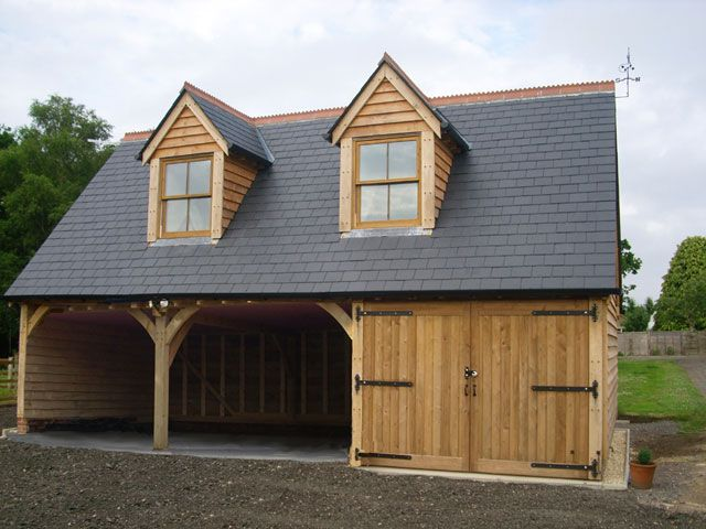 3 bay oak garage with slate roof