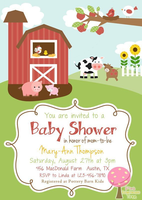 65 best Farm animal baby shower invitations images on Pinterest
