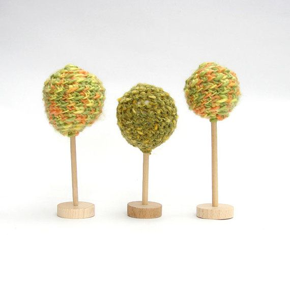 Crochet autumn green Tree   3 pcs Fairy Forest toys for by Dindon, €18.00