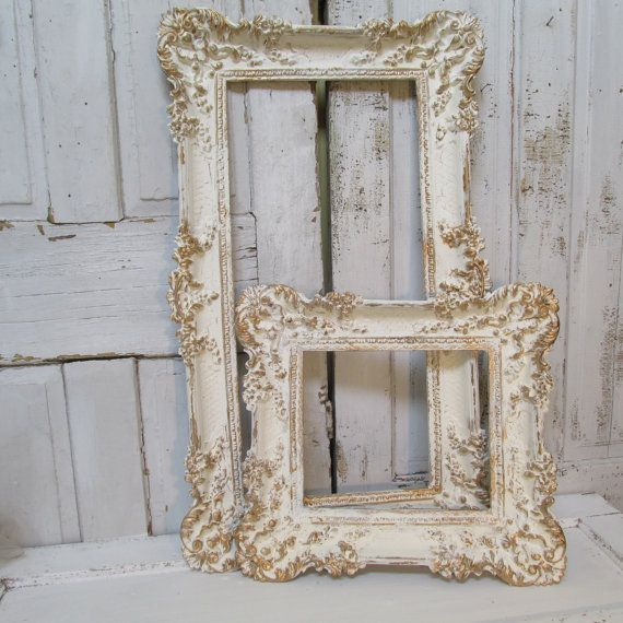 White ivory gold painted picture frames shabby chic ornate vintage wall hanging set anita spero