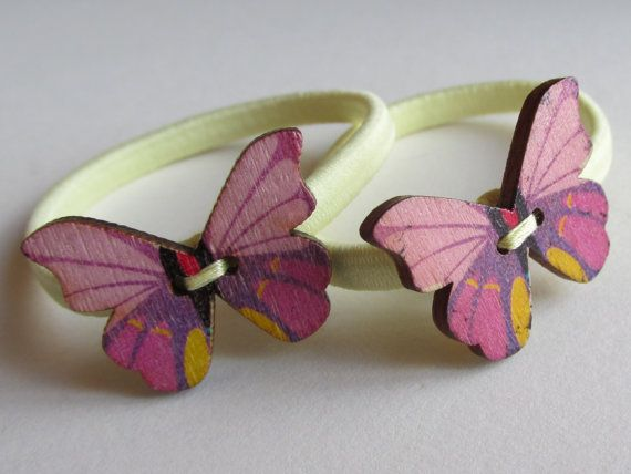 Pink and yellow Butterfly button Bobbin or Pony by Buttonnuthin