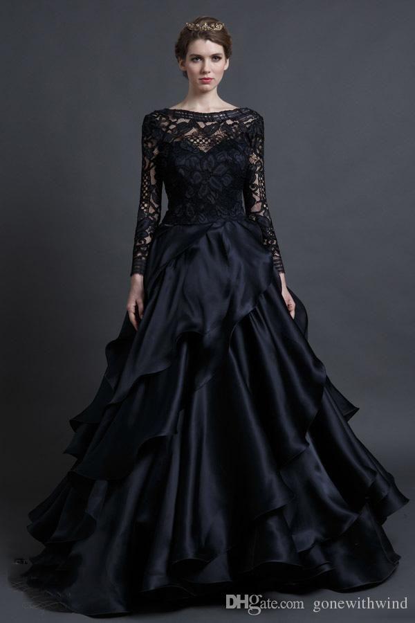 2016 Black Wedding Dresses Long Sleeves Bridal Gowns Ball Gown Bateau Neckline Lace Chiffon Winter Muslim…