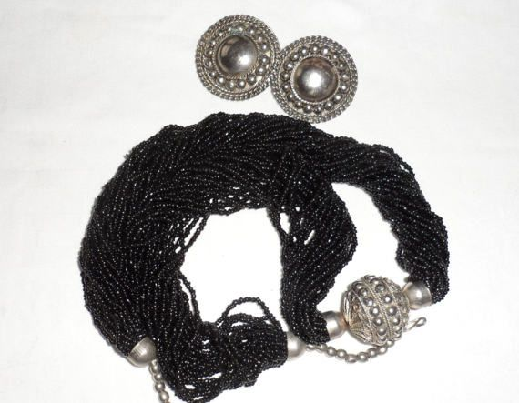 Vintage 1950s Torsade Seed Beaded with Silver Metal Repousse Large Bead/Matching Clip On Repousse Earrings/Statement Necklace n Earrings