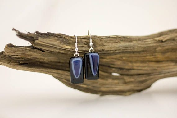 Black & Blue Fused Glass Earrings - Rectangle Earrings - Bold Jewelry - Statement Earrings - Eclectic Jewelry - Everyday Earrings