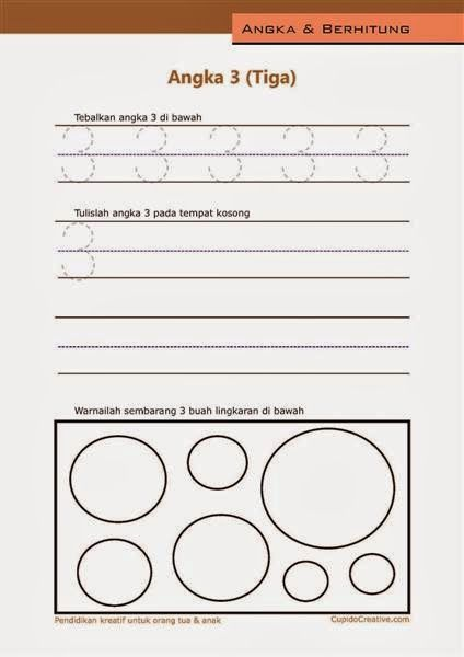 belajar angka paud (anak balita/TK), berhitung 1-10, angka 3