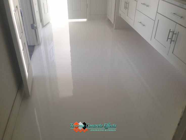 White Epoxy Floor Bathroom By Texoma Concrete Effects