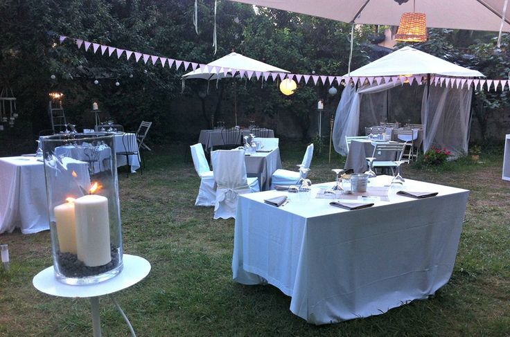 white set for our night in the garden!
