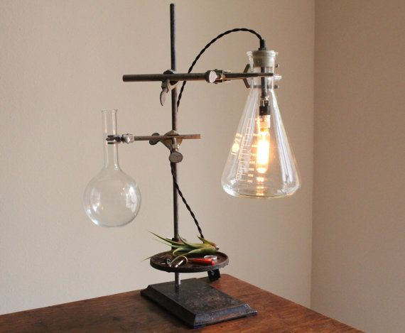 Industrial desk lamp, steampunk lamp, industrial lamp, antique chemistry and laboratory science, studio light, vase, industrial table lamp