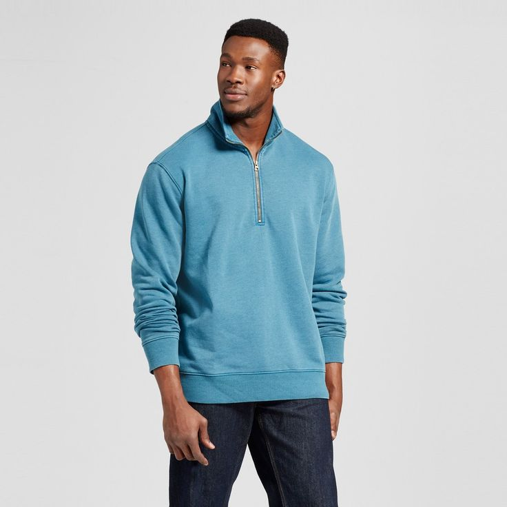 Men's Quarter Zip Fleece Pullover Sweater Big & Tall Teal (Blue) 3XB Tall - Merona